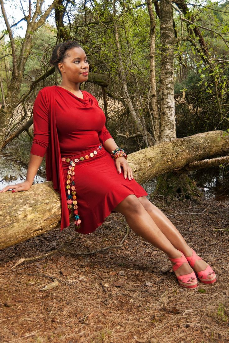 Beautiful Bamboo Set: Waterfall Top, Wrap and Skirt in splendid warm colour red