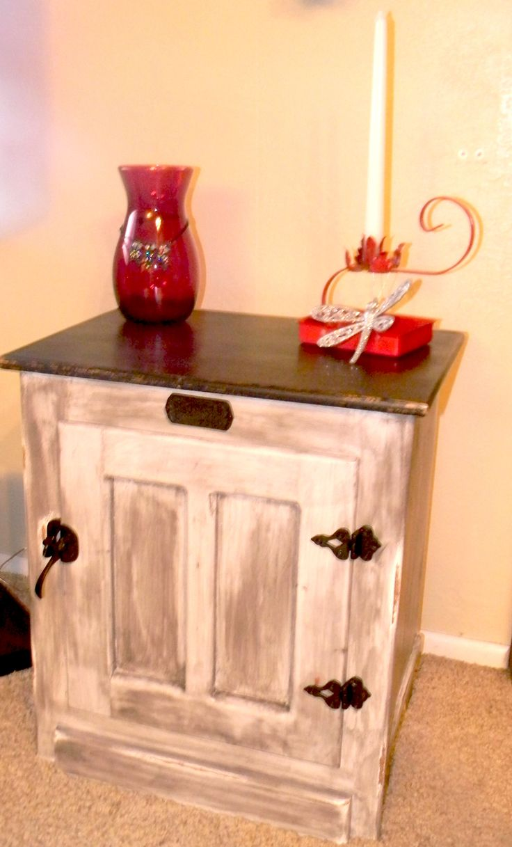 White Clad End Table Makeover