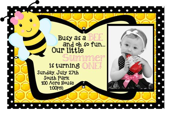 Custom Birthday Invitation - Bumble Bee - Busy Bee - Pink - Black - White - Yellow - Honey Comb - Girly