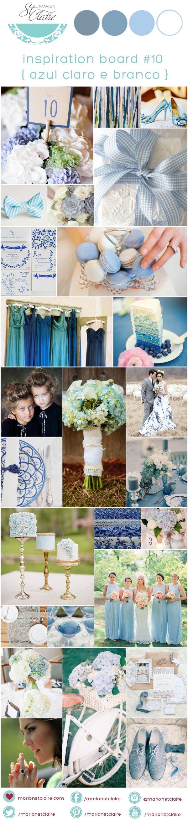 paleta de cores decoração casamento azul e branco