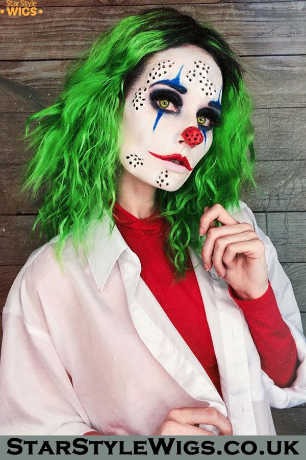Miss Joker Wig Female joker makeup, Clown wig, Green hair