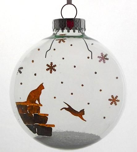 Glass Kitten's First Snow Holiday Ornament by Glak Love on Scoutmob Shoppe