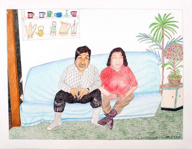 Kananginak Pootoogook at the 57th Venice Biennale. Untitled (Kananginak and his wife Shooyoo in their home), 2010. Ink and coloured pencil on paper, 50.8cm x 66cm