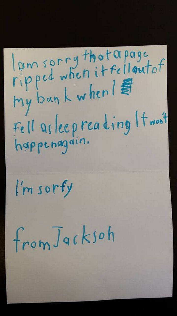A Boy Accidentally Ripped a Page From a Library Book and His Apology Letter Is the Cutest Thing Ever