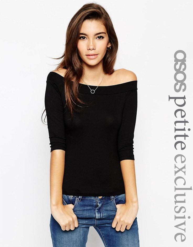 Image 1 ofASOS PETITE Top With Bardot Neck And 3/4 Sleeves