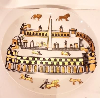 Dekorativer Vintage Steingut Teller mit Vergoldung von Piero Fornasetti 1