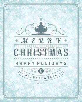 Рождество ретро типографика и свет со снежинками. С Рождеством Рождественские праздники хотите дизайн открыток и старинные украшения интерьера. С Новым годом сообщение. photo