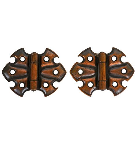 Pair of Petite Japanned Copper Butterfly Hinges c1900