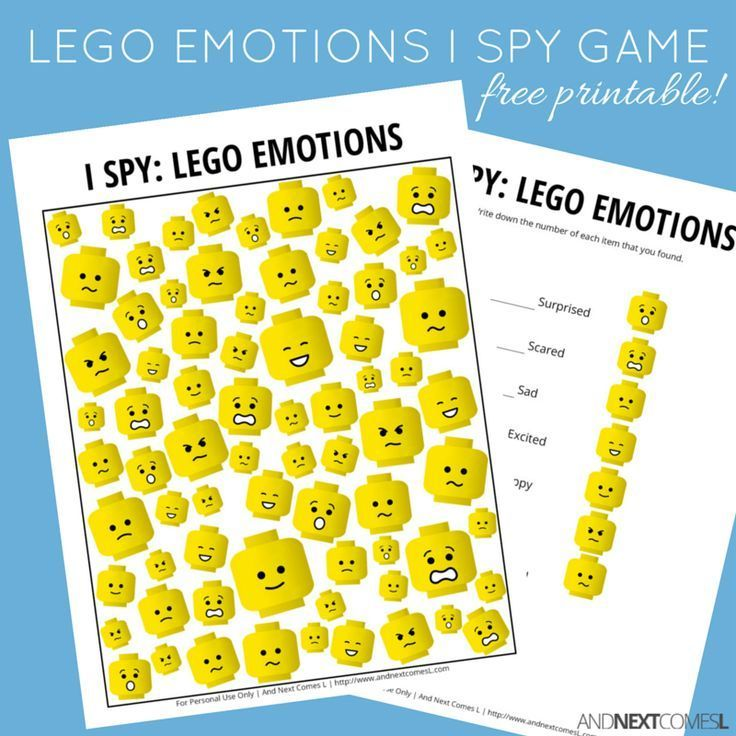 Free printable LEGO emotions themed I Spy game for kids from And Next Comes L