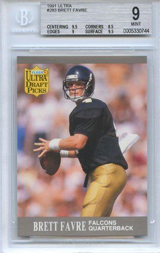 1991 Fleer Ultra Brett Favre Graded Rookie Card #283 by Ultra. $22.00. A 1991 Fleer Ultra BRETT FAVRE Rookie Card #283. This card has been graded MINT (9) and authenticated by Beckett.
