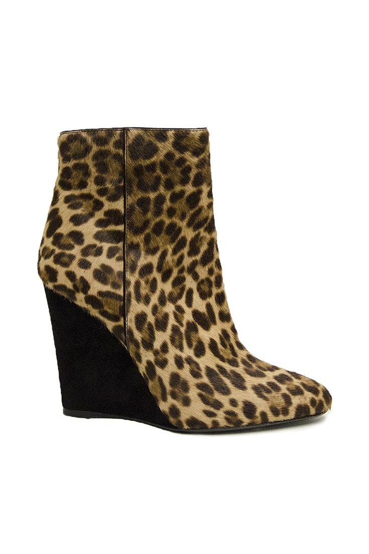 Prada Leopard-Printed Calf Hair Wedge Ankle Boots