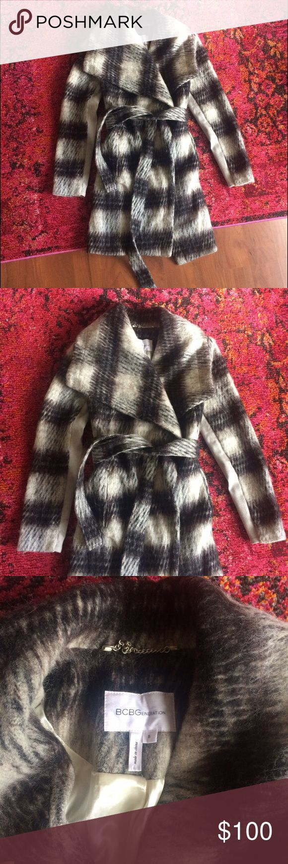 BCBG plaid Wool coat Warm plaid coat by BCBGeneration. Silky lining. Very comfortable, very cool. Barely worn BCBGeneration Jackets & Coats