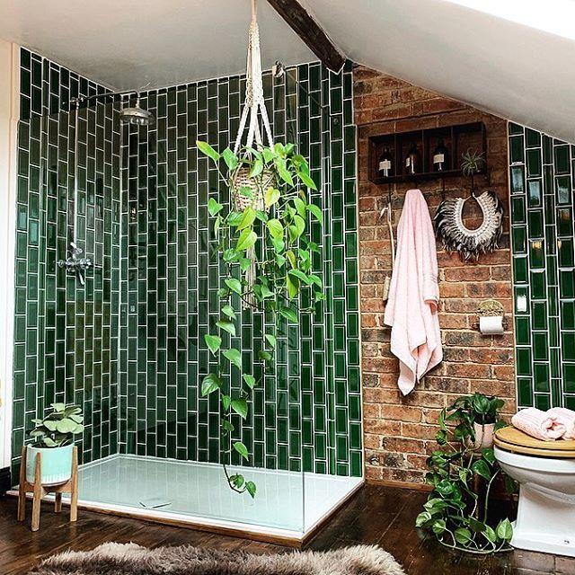 dark green vertical metro tiles in the