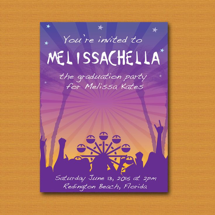 Coachella Inspired Invitation Graduation Wedding