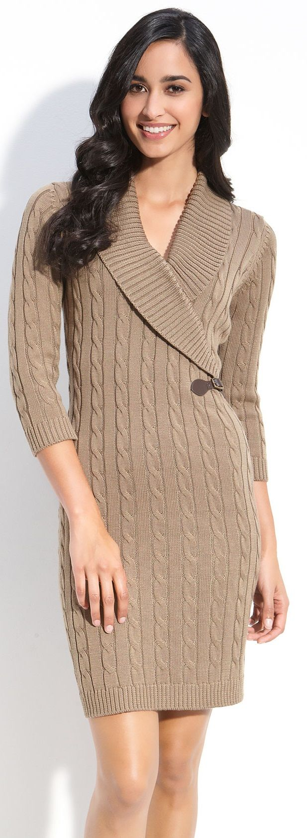 calvin klein taupe faux wrap sweater dress