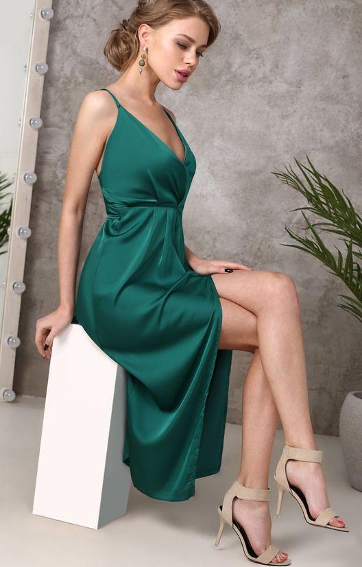 3c059c5ac6e Изумрудное платье-комбинация на запах TOP20 studio