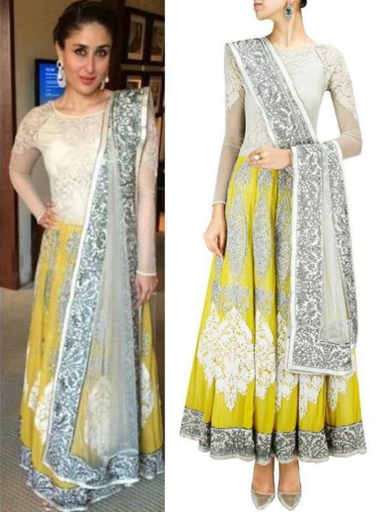 GET THIS LOOK - Kareena kapoor looks charming in the yellow and ivory embroidered anarkali set by Varun Bahl. Her glowing skin just adds to her beauty! Shop now: www.perniaspopups... #varunbahl #clothing #anarkali #designer #perniaspopupshop #happyshopping