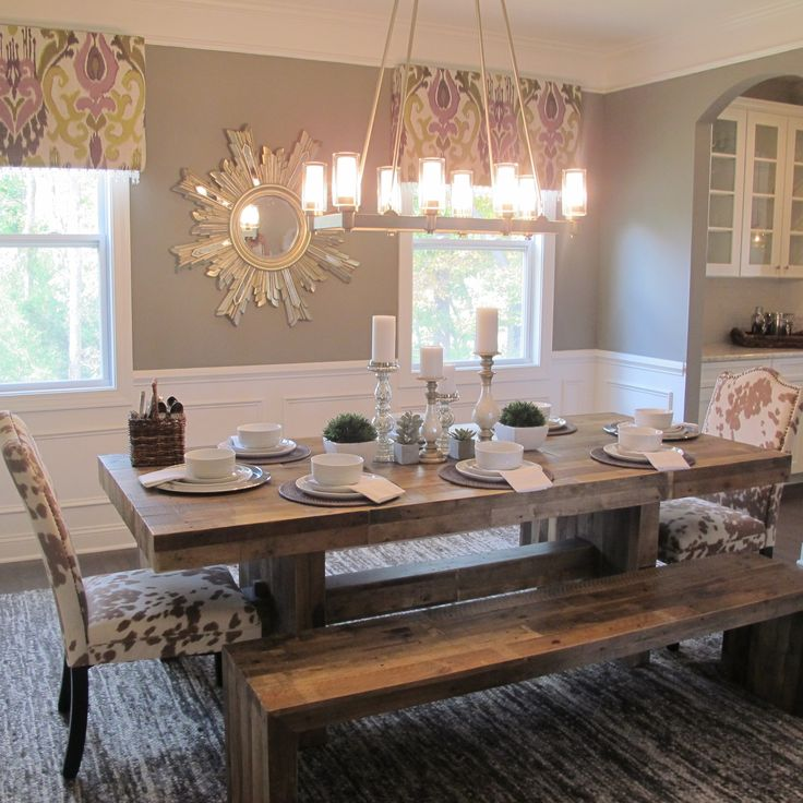 Es Homes Wakefield Model Dining Room Sherwin Williams Dove Gray West Elm Emmerson Table Cow Hide Chairs Kichler Circolo Lighting Modern