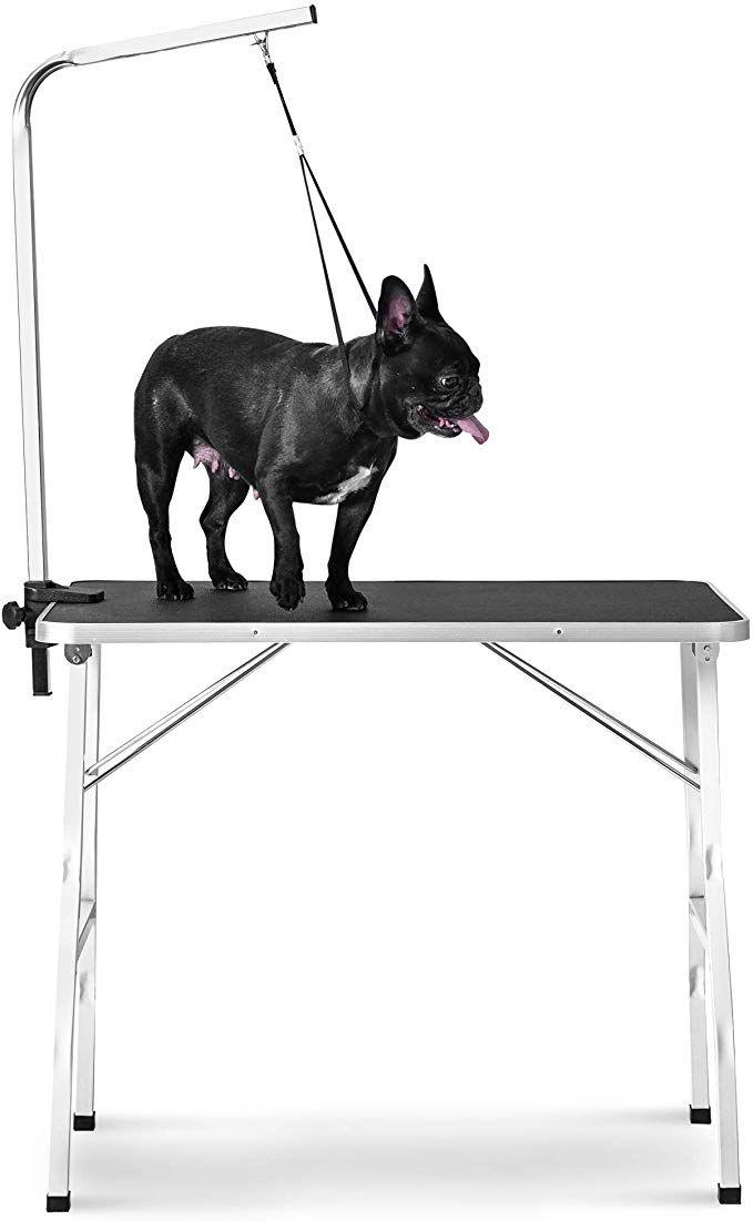 Rhomtree Foldable Pet Grooming Table With Adjustable Grooming Arm