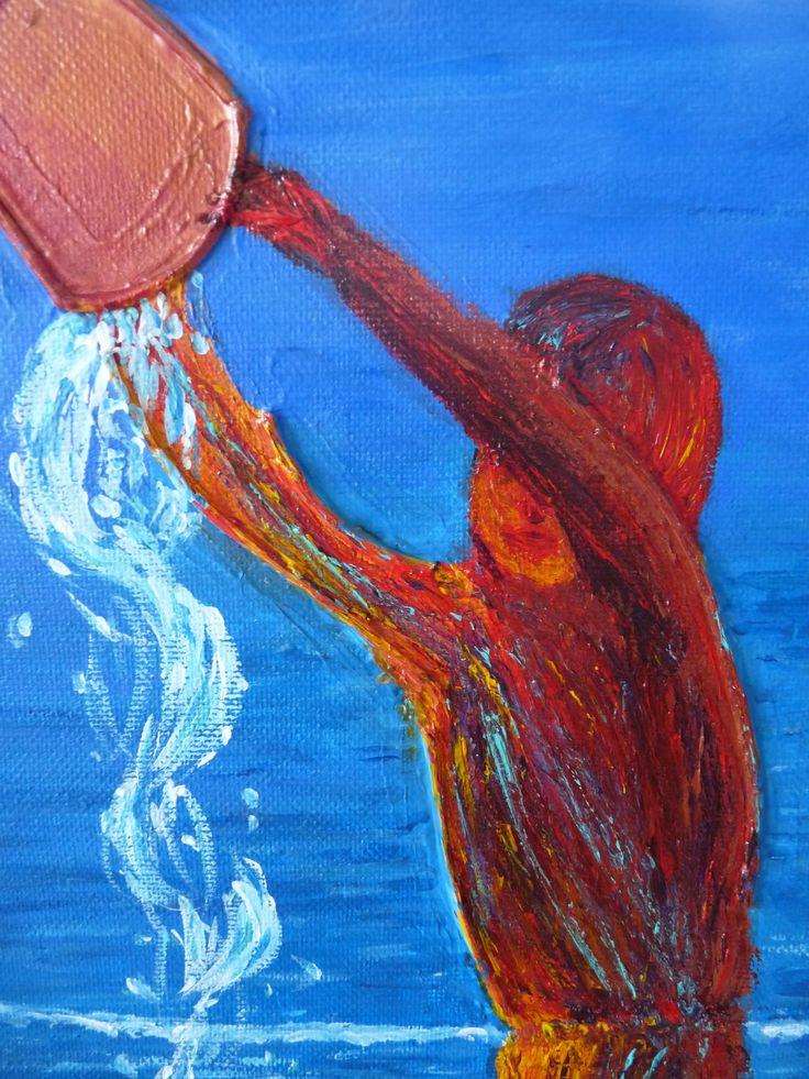 Un tableau d'un enfant sur la plage, jouant avec un seau, explications, making off