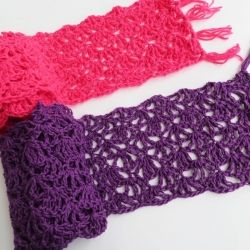 Lovely crochet pattern for a lacy scarf you can make in a few hours. Add more rows to turn it in to a wrap.http://crochetdreamz.blogspot.com/2013/05/alana-lacy-scarf-free-crochet-pattern.html