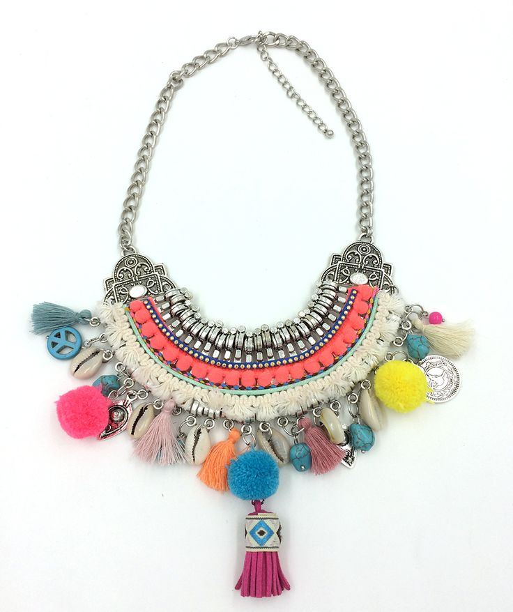 Find More Choker Necklaces Information about 2016 New handmade Bohemia Boho Choker Necklaces Harmony ball colorful Pompoms pendants Necklaces beaded charm Beige necklace,High Quality Choker Necklaces from J&M Fashion Items on line on Aliexpress.com