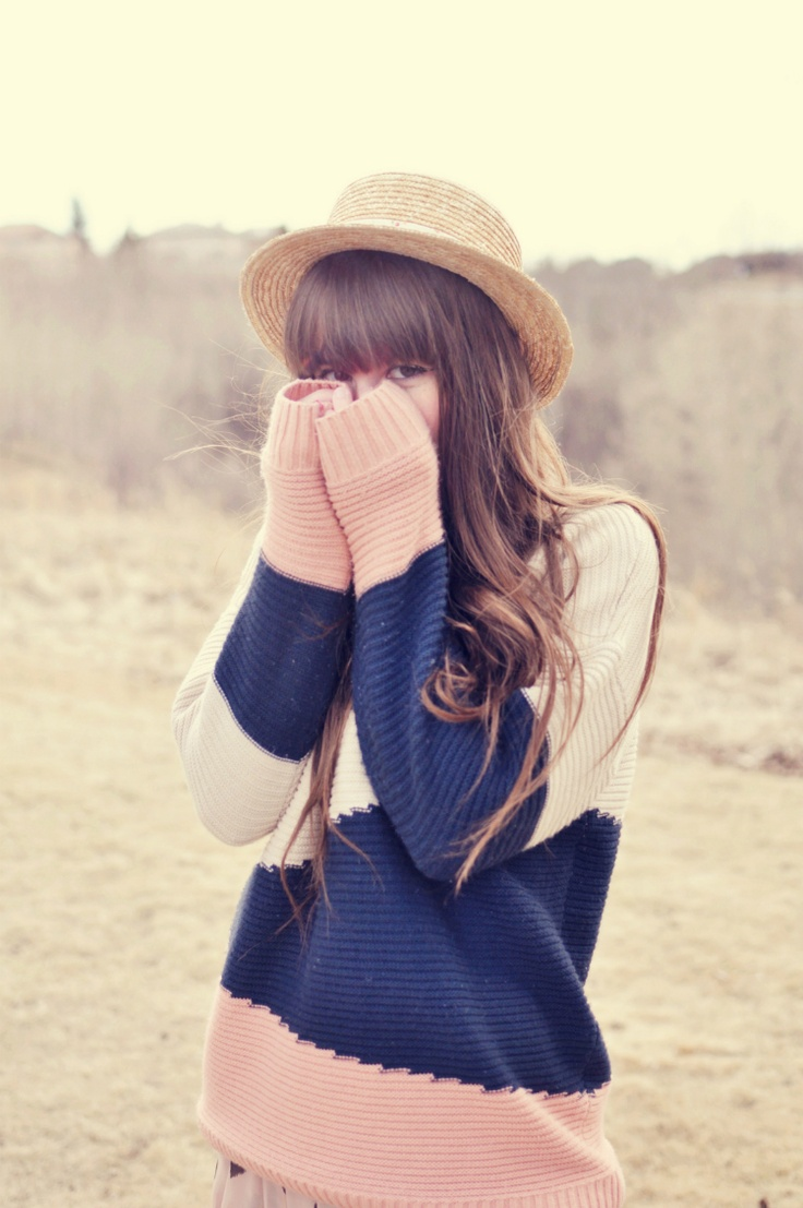 Chunky sweater, hat, and hair