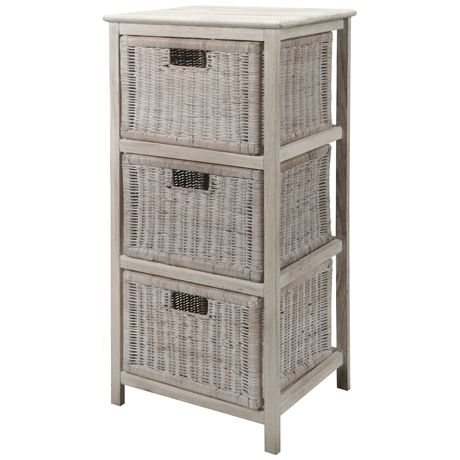 Whitehaven 3 Drawer Storage Unit White Wash
