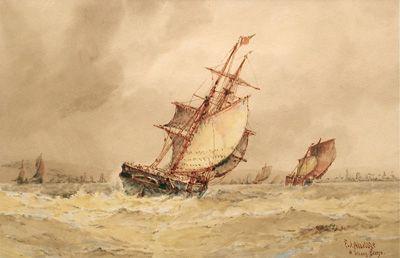 A strong breeze - Frederick James Aldridge FJ original signed oil paintings and watercolours -  Robert Perera Fine Art Gallery of Lymington