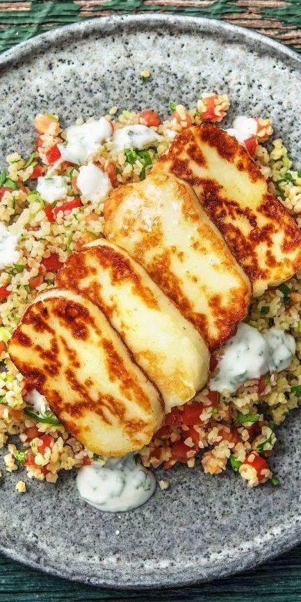 Step by Step Rezept: Würziger Halloumi mit Tabbouleh und Minzjoghurt.   Veggie / Vegetarisch / Käse / Orientalisch / Marokkanisch / 30 Minuten / Schnell   #hellofreshde #vegetarisch #veggie #marokkanisch #diy #rezept