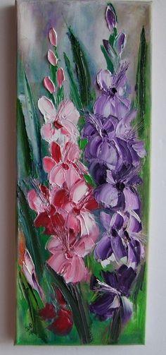 Pink Purple Mallow Impression IMPASTO Original Oil Painting Flower Europe Artist #ImpressionismImpasto
