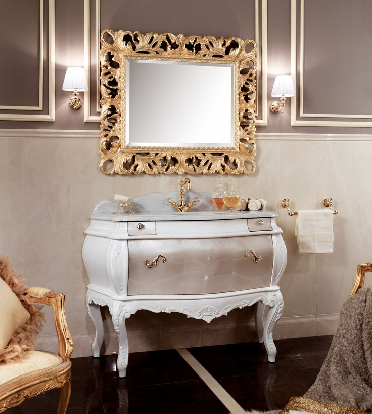 Picture Gallery For Website Lutetia Luxury Italian Bathroom Furniture with brown lacquered base and gold metal trim Available in more than lacquered colors with trim accent in