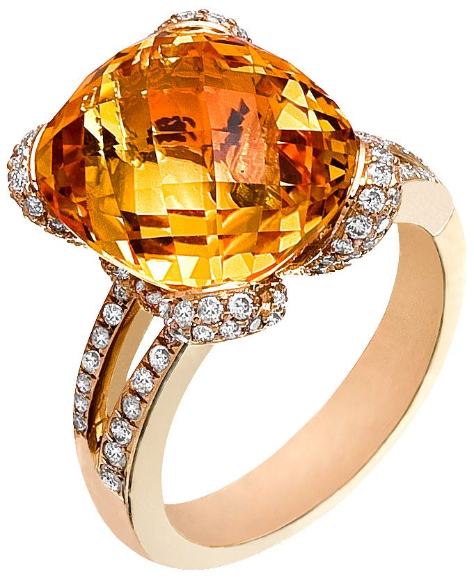 Diamond Ring, .63 Carat Diamonds 9.15 Carat Citrin on 14K Rose Gold