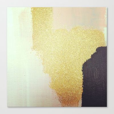 Gold White Black Stretched Canvas by Patty Vargas - $85.00