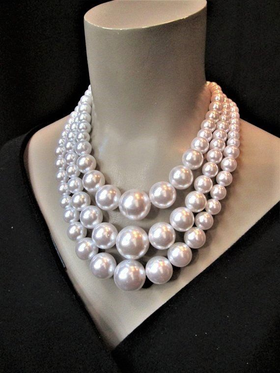 1b0bba84d Chunky Pearl Necklace White Multi Strand Layered Big Chunky Pearl Statement  Pearls Huge Large Oversized Plus Size 3 Strands