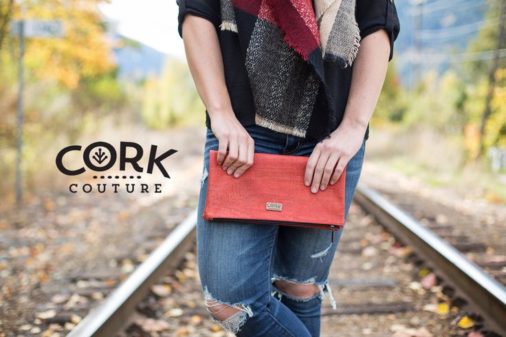 Cork clutch in red!  Vegan, earth friendly sustainable style. www.corkcouture.ca