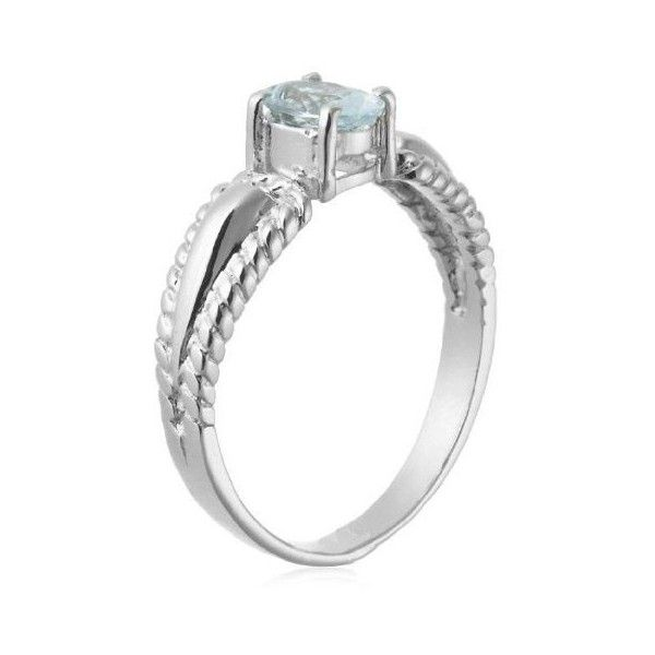 0.5 Carat Aquamarine Gemstone Engagement Ring on Silver