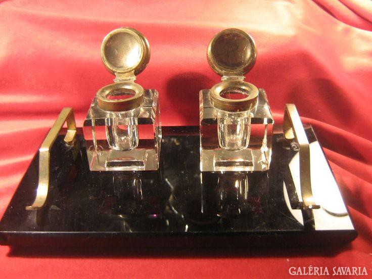 Tintatartók, öntött üveg, íróasztal dísz