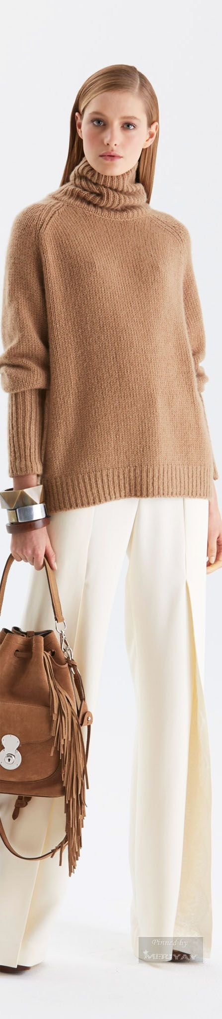 Ralph Lauren.Pre-Fall 2015. Brown sweater white trousers bracelets. Women fashion, clothing