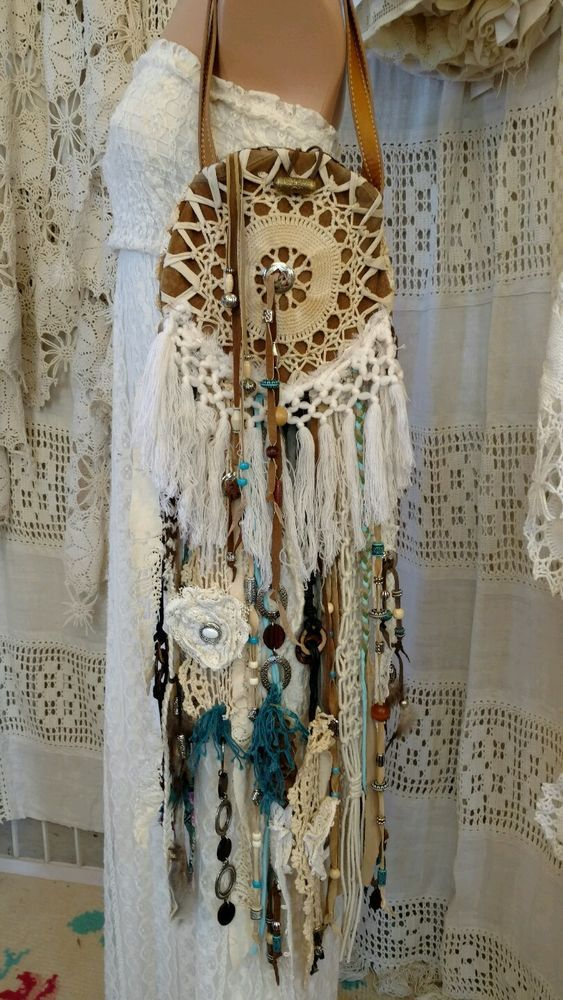 Handmade Dreamcatcher Bag Hippie Fringe Vintage Lace Boho Hobo Purse tmyers #Handmade #ShoulderBag