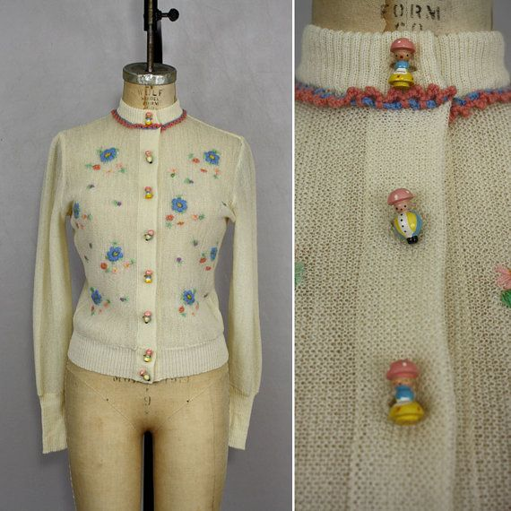 Vintage Embroidered Wool Cardigan / Novelty Painted Wood Buttons Sweater
