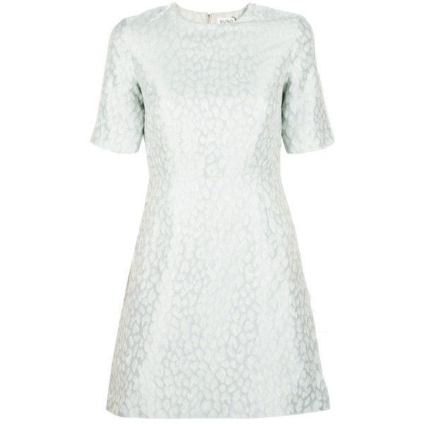 Suno Metallic Leopard Jacquard Mini Dress ($198) ❤ liked on Polyvore featuring dresses, robe, short-sleeve maxi dresses, white party dresses, short party dresses, short white dresses and white flare dress