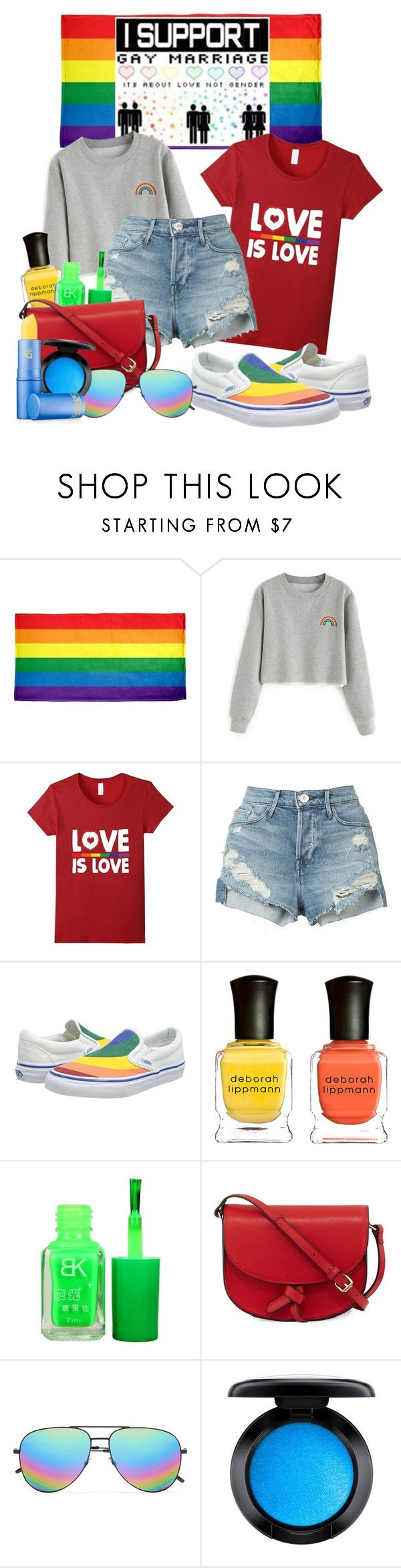 """""""Gay pride & neon beauty"""" by fashion-film-fun ❤ liked on Polyvore featuring 3x1, Vans, Deborah Lippmann, KC Jagger, Yves Saint Laurent, MAC Cosmetics, Lipstick Queen and pride"""