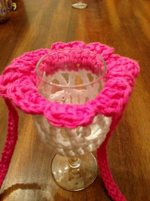 Free Pattern Crochet Wine Glass Holder : Pink flower wine glass holder with strap Mine & Moms ...