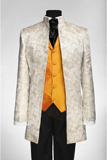 By Eneroth Nehru wedding suit jacket Ivory silkbrocade
