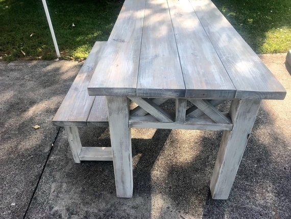 Rustic Wooden Farmhouse Table Set With Gray White Wash Top And Etsy In 2020 Farmhouse Table Setting Farmhouse Table Rustic Bench Seat