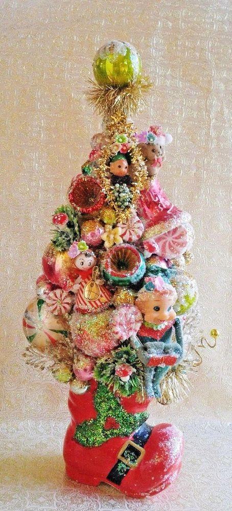 Vintage Santa Boot Large Bottle Brush Tree, Knee Hugger Elf, Vintage Ornaments #HANDMADE
