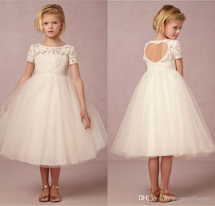 Ivory Flower Girls Dresses 2015 New Jewel Neckline Sweethear Keyhole Back Lace And Tulle Short Sleeve Pricess Girls Dresses Special Occasion Baby Easter Dresses Baby Pageant Dresses From Garmentfactory, $62.83| Dhgate.Com