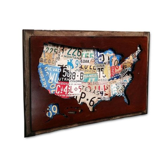 Wood framed United States License Plate cutout map by MACarts2015