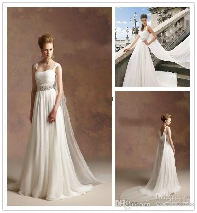 2015 Hot Sale Greek Goddess A Line Sash Detachable Straps Chiffon Beach Wedding Dresses Simple Wedding Dresses Cheap Beach Bridal Gowns new